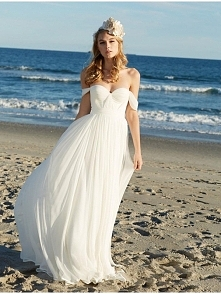 OFF THE SHOULDER CHIFFON BEACH WEDDING DRESS 2016 dressbib.com