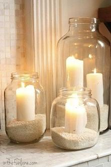 piasek+ słoik+ świeca= wspaniały nastrój i wystrój wnętrza c: