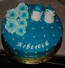 Mój 2 tort z masy cukrowej. Chrzciny synka