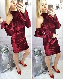 Welurowa sukienka bordo Kliknij w zdjęcie by przejść do sklepu <3