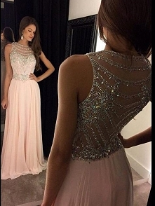 A-LINE/PRINCESS SCOOP CHIFFON SWEEP/BRUSH TRAIN PROM DRESS WITH BEADING TOP