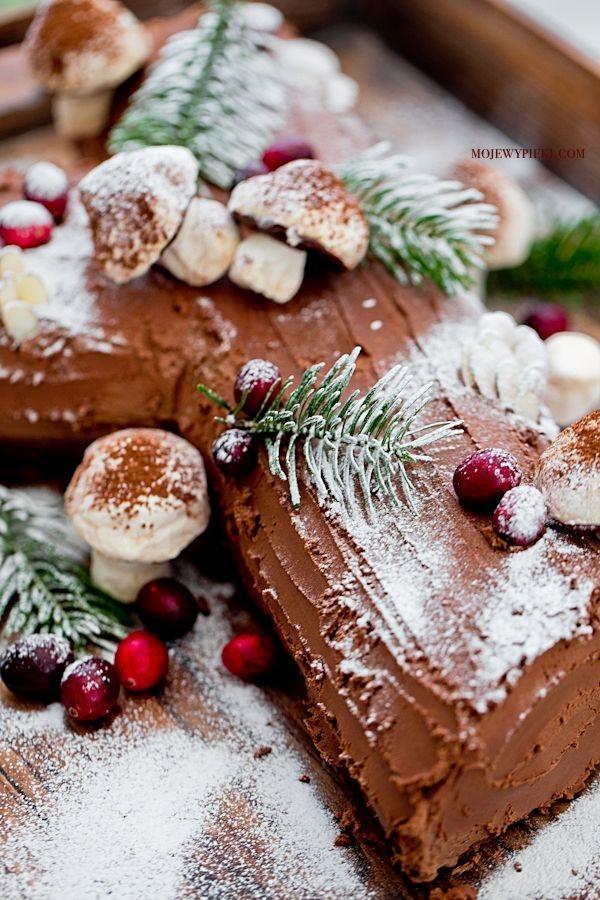 BÛCHE DE NOËL piernikowo-czekoladowa rolada z kremem waniliowym