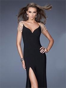 Off the Shoulder High Slit Black Chiffon Prom Dress PD2690