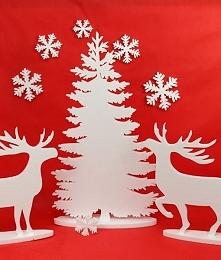 Zestaw-renifery i choinka, dekoracja na święta Bożego  Narodzenia,
