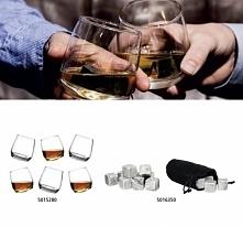 Ekskluzywny zestaw zawiera sześć bujających szklanek do whiskey oraz kamienie chłodzące w etui.