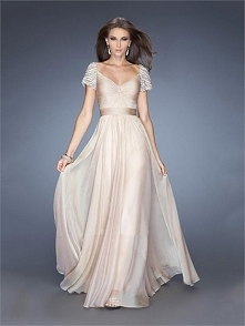 Off the shoulder V-neck Ruched Bodice Chiffon Prom Dress PD2736
