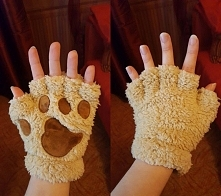 Rękawiczki kotki cappuccino :) Nowe stylowe rękawiczki w przesłodki koci wzor...