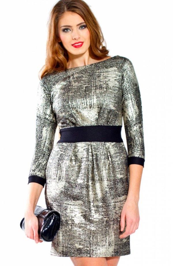 Bicot 2067-06 sukienka srebrno-czarna Czarująca sukienka, wykonana z efektownego błyszczącego materiału, rękaw 3/4