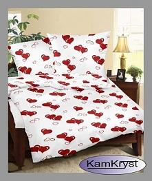 Kora bielawska w serduszka na czerwonym tle - Walentynkowa pościel z kory dla zakochanych