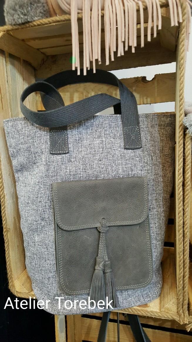worek shopper skóra + płótno Fb/Atelier Torebek