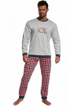 Cornette Winter 115/77 piżama Wygodna dwuczęściowa piżama męska, utrzymana w świątecznym klimacie, szara bluzka z długim rękawem