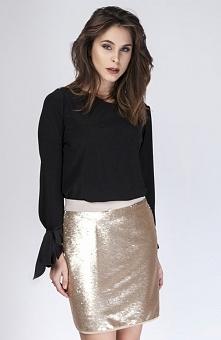 Milu MP258 spódnica złota Seksowna mini spódniczka, pokryta pięknie mieniącym...