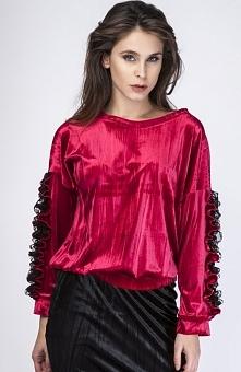 Milu by Milena Płatek MP260 bluza bordowa Przepiękna bluza damska, dostępna w dwóch modnych kolorach, wykonana z miękkiej welurowej dzianiny
