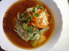 Witam Serdecznie dziś chciałbym zaprezentować przepis na rybę Miruna w zalewie pomidorowej 1 Kg filetów 2-4 cebule 1-2 ogórki konserwowe 1-2 papryki świeże lub konserwowe  Zalew...