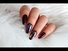 Sylwestrowe paznokcie hybrydowe + glass nails (szklane paznokcie)