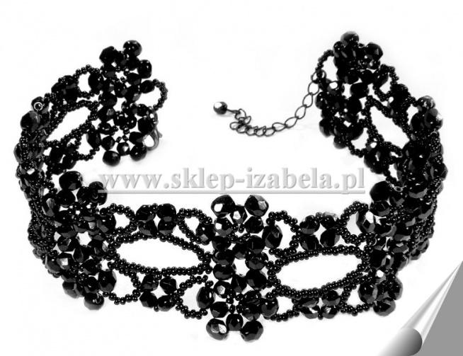 Czarna kolia obroża z koralików biżuteria na sylwester