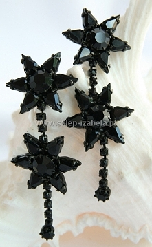 kolczyki z kryształami czarne wieczorowe na sylwester