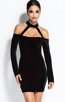 Dursi Callie sukienka czarna Zjawiskowa sukienka, wykonana z miękkiej i przyjemnej w dotyku dzianiny, góra ozdobiona paskami, które eksponują ramiona, zapinana na szyi