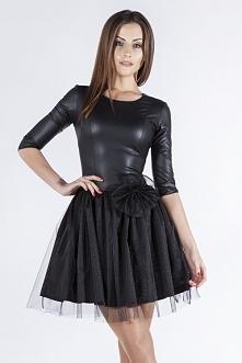 Czarna sukienka skórzana na...