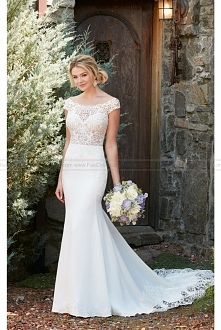 Essense of Australia Off The Shoulder Wedding Dress With Lace Train Style D2298