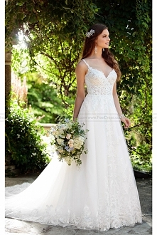Essense of Australia Romantic Boho Wedding Dress With Lace Train Style D2230