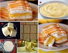 Składniki: •3 banany, •400 ml śmietany kremówki, •3 szklanki mleka, •polewa karmelowa, •1/2 szklanki cukru pudru, •1/4 szklanki roztopionego masła, •250 g serka mascarpon...