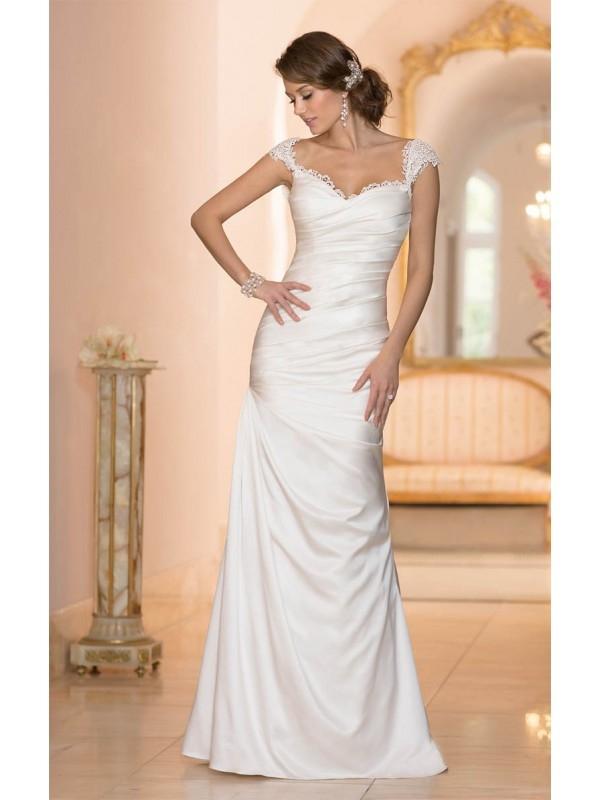2015 BEAUTIFUL V-NECK LACE BODICE SHEATH/COLUMN BUTTONS ZIPPER BACK ASYMMETRICAL LENGTH SATIN WEDDING DRESSES dressbib.com