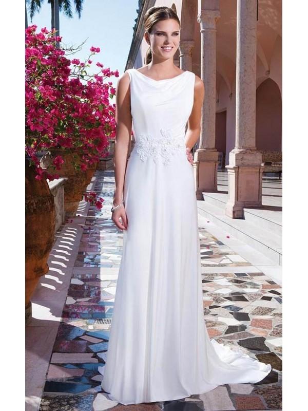 2015 NEW ARRIVAL COWL A-LINE APPLIQUES NATURAL WAIST LOW BACK CHIFFON WEDDING DRESSES dressbib.com