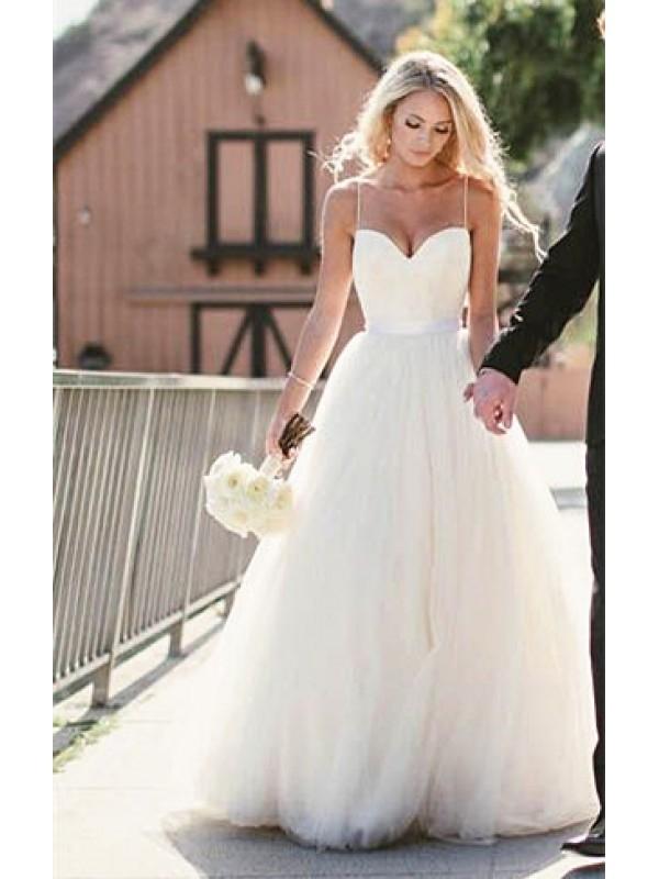 A LINE FLOOR LENGTH BEACH WEDDING DRESS WITH STRAPS dressbib.com