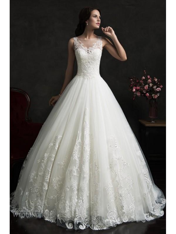 A LINE SCOOP NECKLINE BUTTON BACK SLEEVELESS LACE WEDDING DRESS 2016 dressbib.com