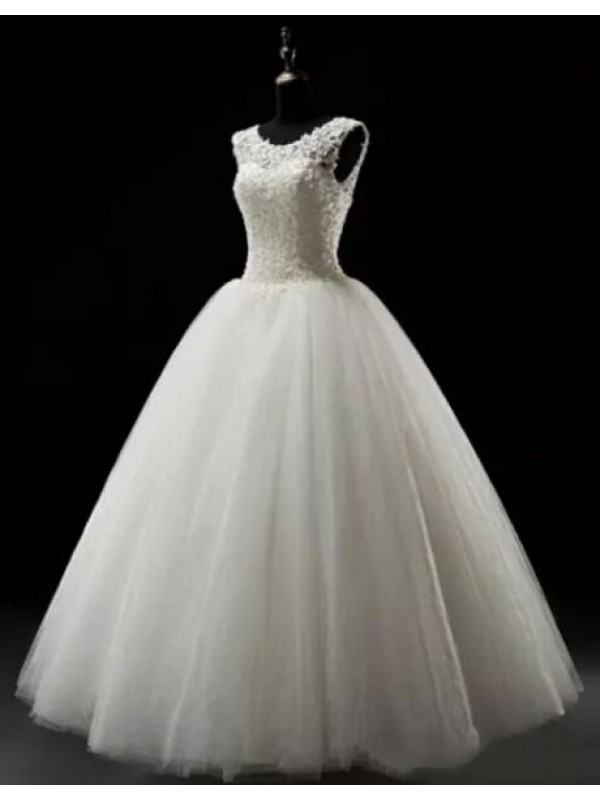 A LINE FULL LACE-UP HANDMADE LACE WEDDING DRESS 2016 dressbib.com