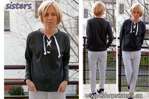 Dresowa bluza ze sznurowanym dekoltem - PAGA  Strona producenta: shopsisters.eu - 100% produkt Polski