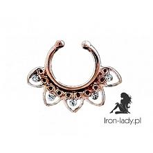 Fake Septum różowe złoto z kryształkami dostępny na iron-lady.pl Link po klik...
