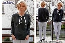 Dresowa bluza ze sznurowany...