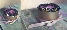 Zestaw z Myszka Miki - czarne matowe agaty wraz z kryształkami z pozłacanymi ...