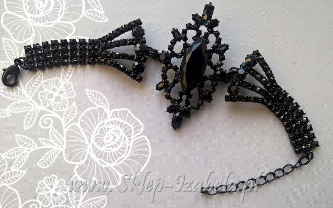Bransoletka czarna wieczorowa biżuteria kryształy