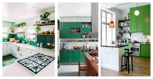 Katalog wnętrz: Wiosenny motyw w kuchni. Kuchnia w zieleni