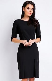 Awama A158 sukienka czarna Elegancka sukienka, rękaw do łokcia, prosty krój