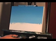Blending a blue sky. Follow up to Week 1 online painting lessons.
