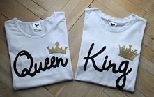 Koszulki dla pary King & Queen. Napis wykonany odpornymi na spieranie far...