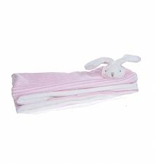 Mięciutki kocyk z króliczkiem o wymiarach 72x70 cm . Kolorystyka kocyka biało-różowa. Opakowany w ozdobnym pudełku - w sam raz na prezent dla niemowlaka.