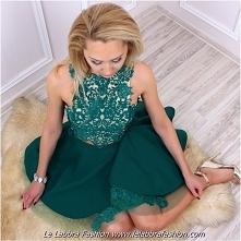 Le Labbra Fashion Kolekcja 2017 Model Milagros Piękna dwuczęściowa sukienka z koronkowym topem zdobionym cyrkoniami oraz fantazyjna asymetryczna spódniczka sukienka szyta na mia...