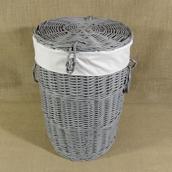 Chłodny Szary wiklinowy kosz na pranie z obszyciem w kolorze białym na IA25
