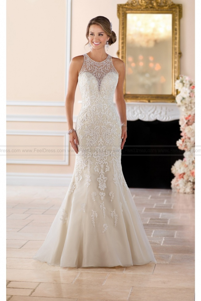 Stella York Elegant High Neck Sheath Wedding Dress With Lace Beading Style 6435