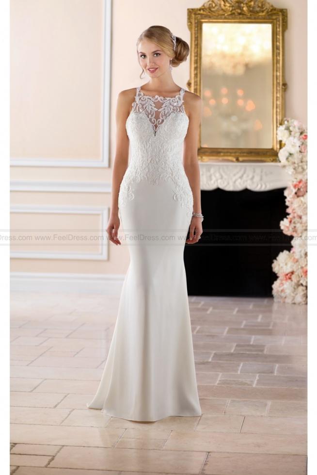 Stella York High Neck Sheath Wedding Dress Style 6404