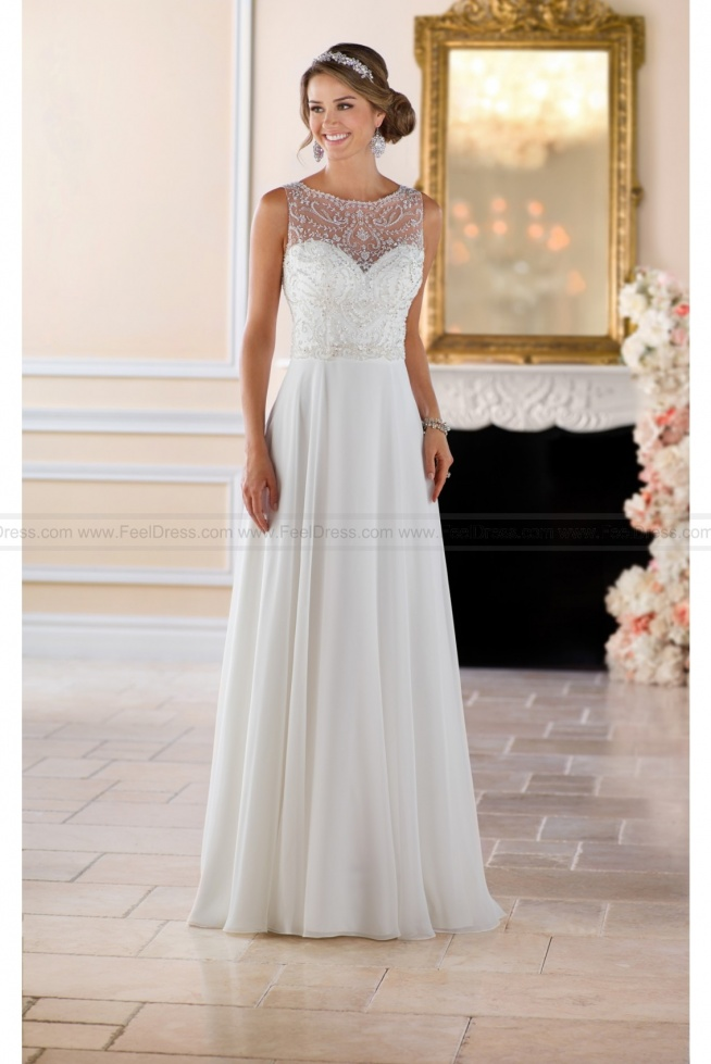 Stella York Beaded High Neck Wedding Dress Style 6423