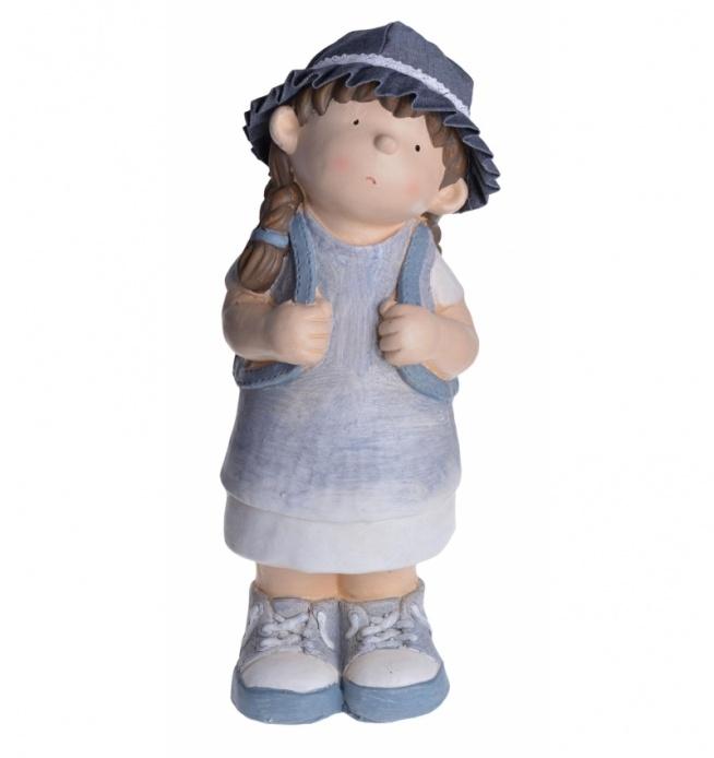 Figurka duża dziewczynka z plecakiem, piękna dekoracja wykonana z tworzywa o okazałych rozmiarach znajdzie zastosowanie zarówno w domu jak i ogrodzie  Wymiary: 18x20x49 cm