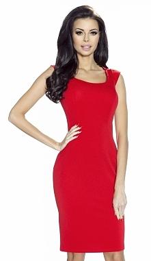 Elegancka klasyczna sukienka z pięknym dekoltem w kolorze czerwieni -Domenica  Sukienka w przepięknym czerwonym kolorze. Wykonana z materiałów wysokiej jakości. Zdobieniem sukie...