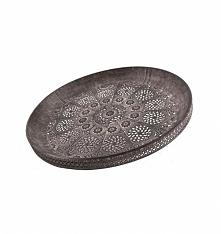 Taca metalowa ażurowa vintage w kolorze szarym. Piękny dodatek do dekoracji i wystroju wnętrza. Jako taca kuchenna lub taca do dekoracji np. na stole w kuchni lub w jadalni.