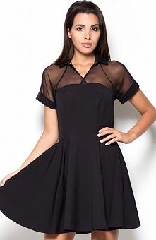 Katrus K399 sukienka czarna Efektowna sukienka, wykonana z jednolitej tkaniny, góra tiulowa